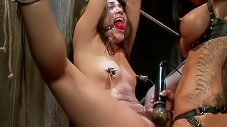 Hot Slut Dominated By Sexy Mistress With Strap On Action