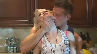 Petite blonde gets her pussy fingered before being drilled hardcore in the kitchen
