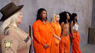 Cell Block Lesbian Sex Session with Two Horny Ebony Inmates