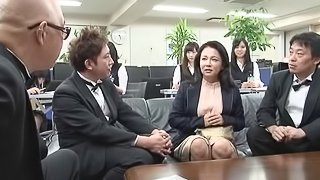 Mature Asian pornstar getting gang banged in the office
