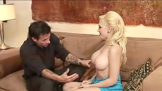 Slapping Kagney Lynn Carter's tongue and pussy with his cock