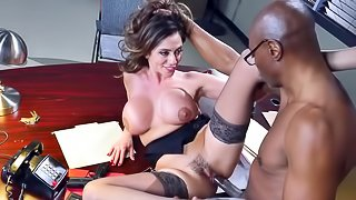 Milf in heats tries black cock during office xxx play