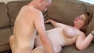 Sexy Chubby Teen With Glasses Gets Cum On Her Tits