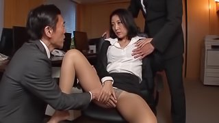Horny Japanese office girl enjoys a hot mmf threesome at work