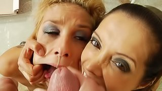 Sexy lesbians are swallowing big loads of cum
