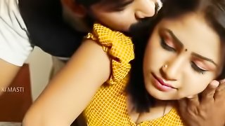 Beautiful Indian teen enjoys her boobs pressed and navel kissed
