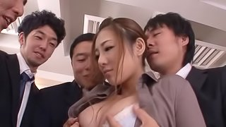 Boring meeting at the office turns into a sexy bukkake party