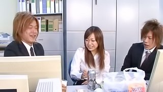Office slut in sexy black pantyhose fucked by her coworkers