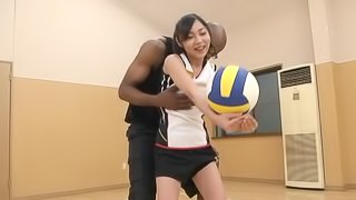 Petite Japanese girl gets fucked by Black guy in sport hall