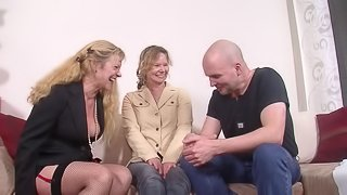Fishnet-clad granny with a shaved pussy enjoying a mind-blowing FFM threesome