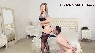 Foot fetish dame in stockings getting the pleasure of toys in BDSM shoot